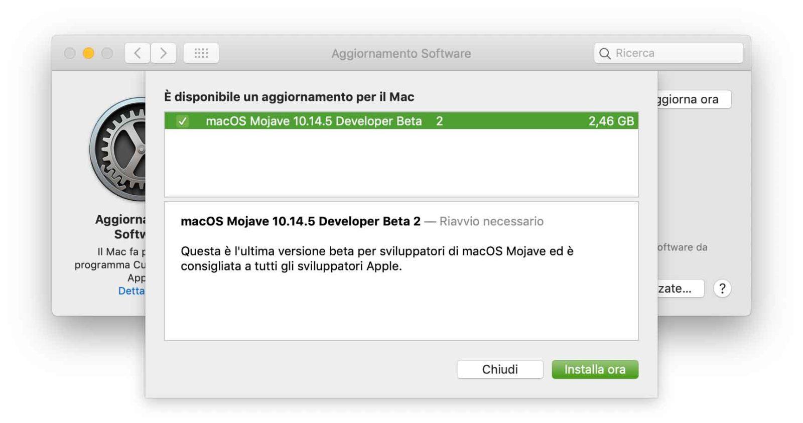 Seconda beta di macOS 10.14.5 agli sviluppatori